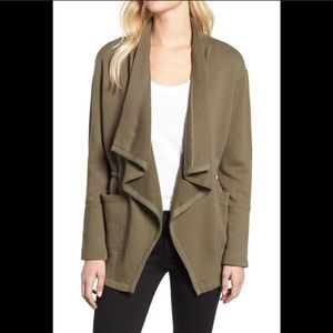 Caslon plus Asymmetrical Drape Collar Terry jacket